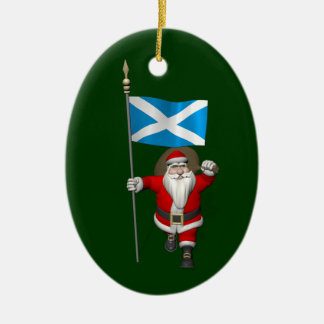 Santa Claus With Ensign Of Scotland Ceramic Oval Decoration