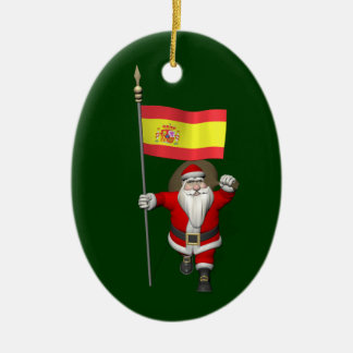Santa Claus With Ensign Of Spain Christmas Ornament