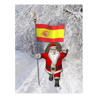 Santa Claus With Ensign Of Spain Postcard