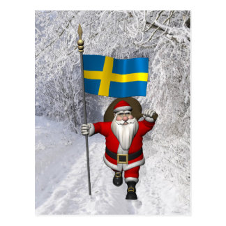 Santa Claus With Ensign Of Sweden Postcard