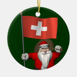 Santa Claus With Ensign Of Switzerland Double-Sided Ceramic Round Christmas Ornament