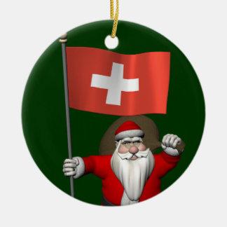 Santa Claus With Ensign Of Switzerland Round Ceramic Decoration