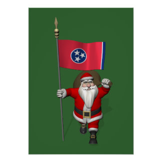 Santa Claus With Ensign Of Tennessee Poster