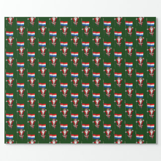 Santa Claus With Ensign Of The Netherlands Wrapping Paper