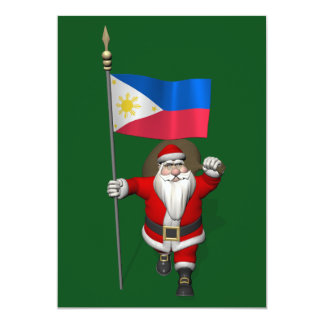 Santa Claus With Ensign Of The Philippines 5x7 Paper Invitation Card