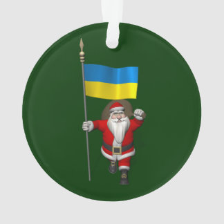 Santa Claus With Ensign Of The Ukraine Ornament