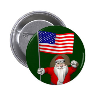 Santa Claus With Ensign Of The USA 6 Cm Round Badge