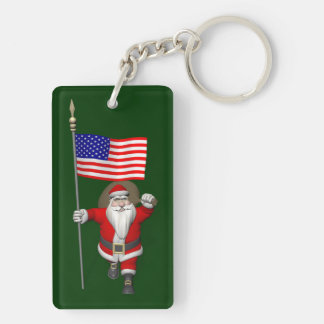 Santa Claus With Ensign Of The USA Double-Sided Rectangular Acrylic Keychain