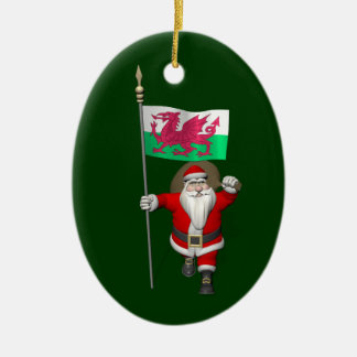 Santa Claus With Ensign Of Wales Christmas Ornament