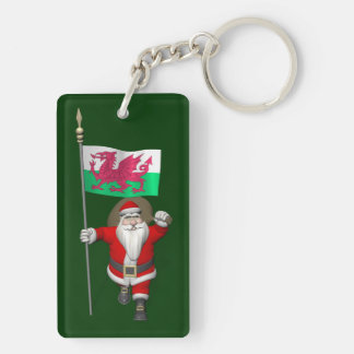 Santa Claus With Ensign Of Wales Double-Sided Rectangular Acrylic Key Ring