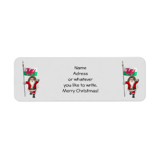 Santa Claus With Ensign Of Wales Return Address Label