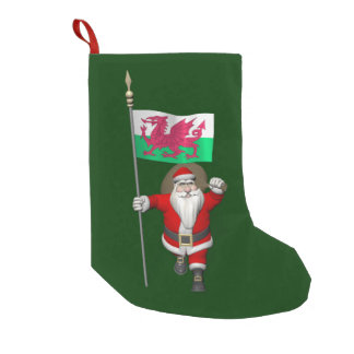 Santa Claus With Ensign Of Wales Small Christmas Stocking