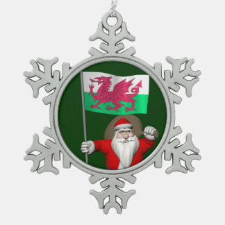 Santa Claus With Ensign Of Wales Snowflake Pewter Christmas Ornament