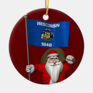 Santa Claus With Ensign Of Wisconsin Christmas Ornament
