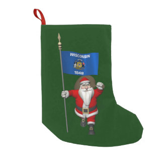 Santa Claus With Ensign Of Wisconsin Small Christmas Stocking