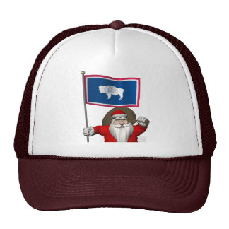 Santa Claus With Ensign Of Wyoming Trucker Hat