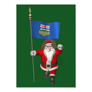 Santa Claus With Flag Of Alberta CDN 13 Cm X 18 Cm Invitation Card