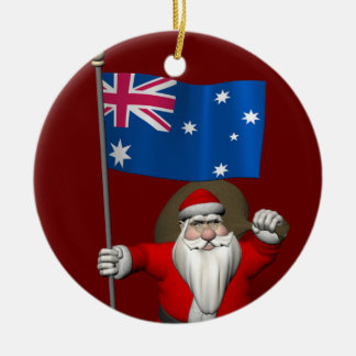 Santa Claus With Flag Of Australia Round Ceramic Decoration
