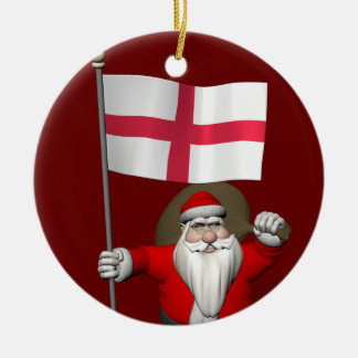 Santa Claus With Flag Of England Christmas Ornament