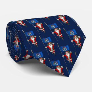 Santa Claus With Flag Of Michigan Tie