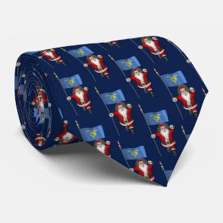 Santa Claus With Flag Of Oregon Tie