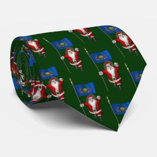 Santa Claus With Flag Of  Pennsylvania Tie
