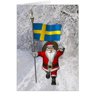 Santa Claus With Flag Of Sweden Greeting Card