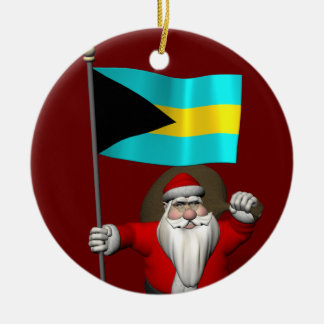 Santa Claus With Flag Of The Bahamas Round Ceramic Decoration