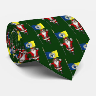 Santa Claus With Flag Of Trenton NJ Tie