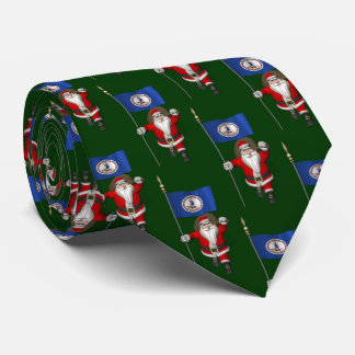 Santa Claus With Flag Of Virginia Tie