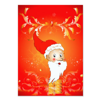 Santa Claus with floral elements Personalized Announcements