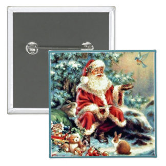 Santa Claus with Forest Animals Chirstmas Button