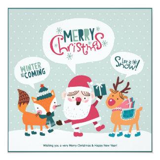 Santa Claus With Fox & Reindeer 13 Cm X 13 Cm Square Invitation Card