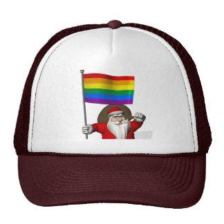 Santa Claus With Gay Pride Rainbow Flag Cap