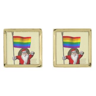 Santa Claus With Gay Pride Rainbow Flag Gold Finish Cufflinks