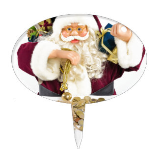 Santa Claus with gifts and money coins Cake Toppers