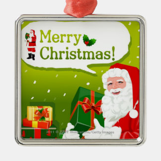 Santa Claus with gifts Silver-Colored Square Decoration