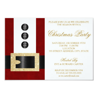 Santa Claus with Glitter Belt | Party Invitation