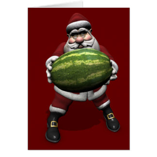 Santa Claus With Huge Watermelon Card