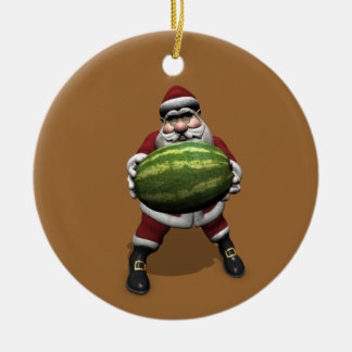 Santa Claus With Huge Watermelon Round Ceramic Decoration