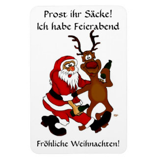 Santa Claus with moose - Prost it bags! Rectangular Photo Magnet