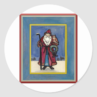 Santa Claus with Owl Classic Round Sticker