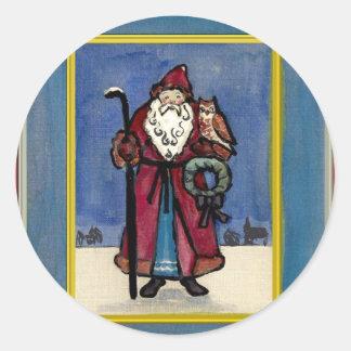 Santa Claus with Owl Round Sticker