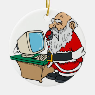 santa claus with phone and computer christmas ornament