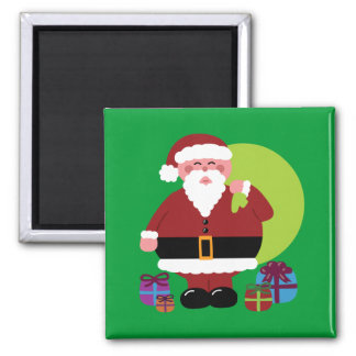 Santa Claus With Presents Square Magnet