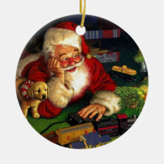 Santa Claus With Puppy Christmas Ornament