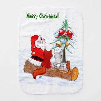 Santa Claus with Rabbit Fox and Squirrel Burp Cloth