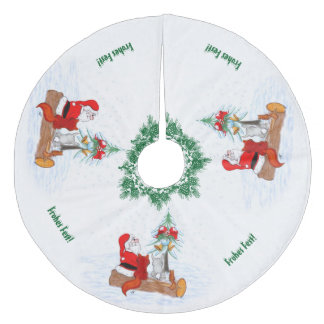 Santa Claus with rabbit Fox and squirrel Fleece Tree Skirt