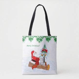 Santa Claus with Rabbit Fox and Squirrel Tote Bag