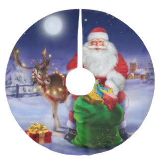 Santa Claus with reindeer Brushed Polyester Tree Skirt